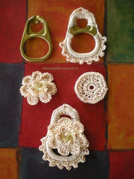 sandylandya@outlook.es  Lacres de latinhas,cobertos de crochê,se transformam em lindos brincos