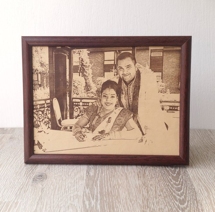 Engraved picture on genuine leather, 3rd wedding anniversary gift idea, custom engraved framed picture, leather engraving, unique gift