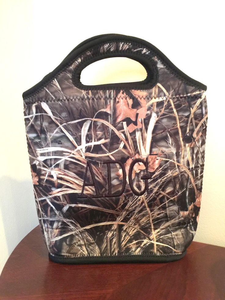 Monogrammed Camo Lunch Tote - Personalized Lunch Box - Camo bag - Camouflage Bag - Men's Lunch by MJMonograms on Etsy