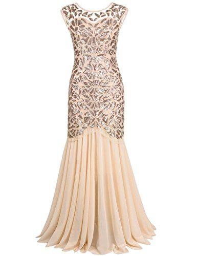cc18f17e014 Kayamiya Women s 20s Beaded Floral Maxi Long Gatsby Flapper Prom Dress 1X  Champagne