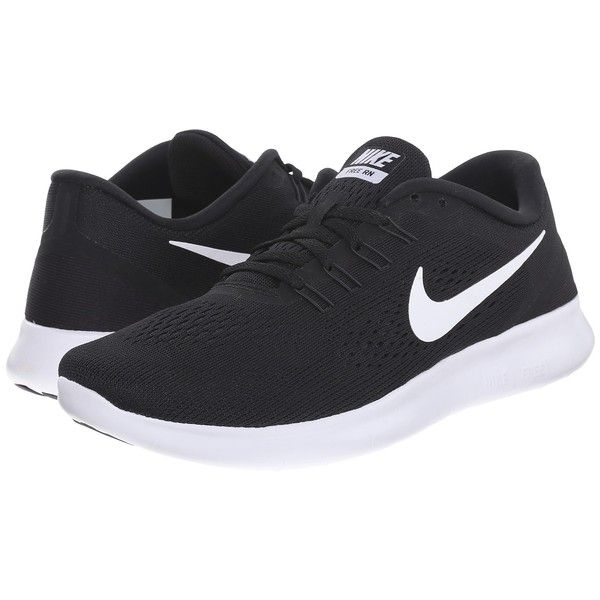 Nike Free RN (Black/Anthracite/White) Women's Running Shoes ($100) ❤ liked on Polyvore featuring shoes, athletic shoes, nike, lightweight running shoes, flexible running shoes, breathable shoes and black white shoes
