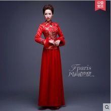Envío gratis 2015 cheongsam rojo del vestido de boda chino oriental vestidos vestido tradicional chino cheongsam invierno 4A83(China (Mainland))
