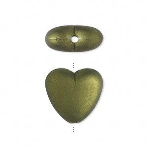 Beads: :: Acrylic , Plastic: :: Rubberized and Pearlized Coating: :: Bead, acrylic with rubberized coating, green, heart, 17x15mm. 10pcs - BEST Beading Supplies - Tools, Stringing, Beads, Bulk Buys, Sydney Retail Shop