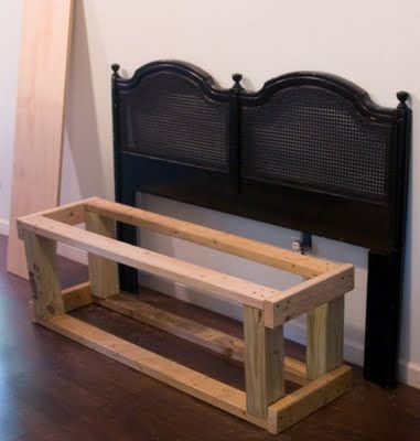 Tutorial on how to make a bench out of a headboard..I've seen these finished in stores and would love one for the garden! (when I have one...)