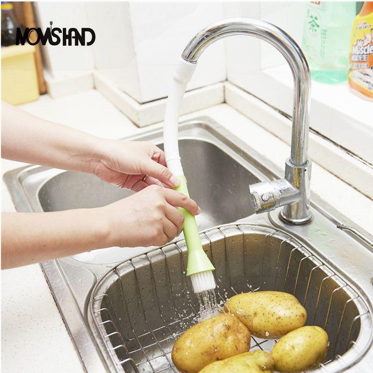 Экономии воды кран фильтр Овощной Кисть Щетка для очистки кухонному крану насадка для душа