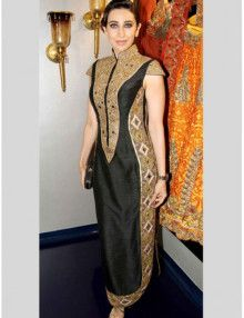Bollywood Replica Karishma Kapoor Party Wear Anarkali Suit Color : As Shown In Pic Fabric : Top : Silk Georgette Bottom : Santoon Dupatta : NA Work : Multi With Mirror Work
