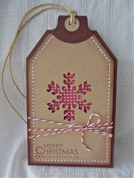 handmade Snowflake Tag using the negative diecut ... luv the country look in kraft and red ...: