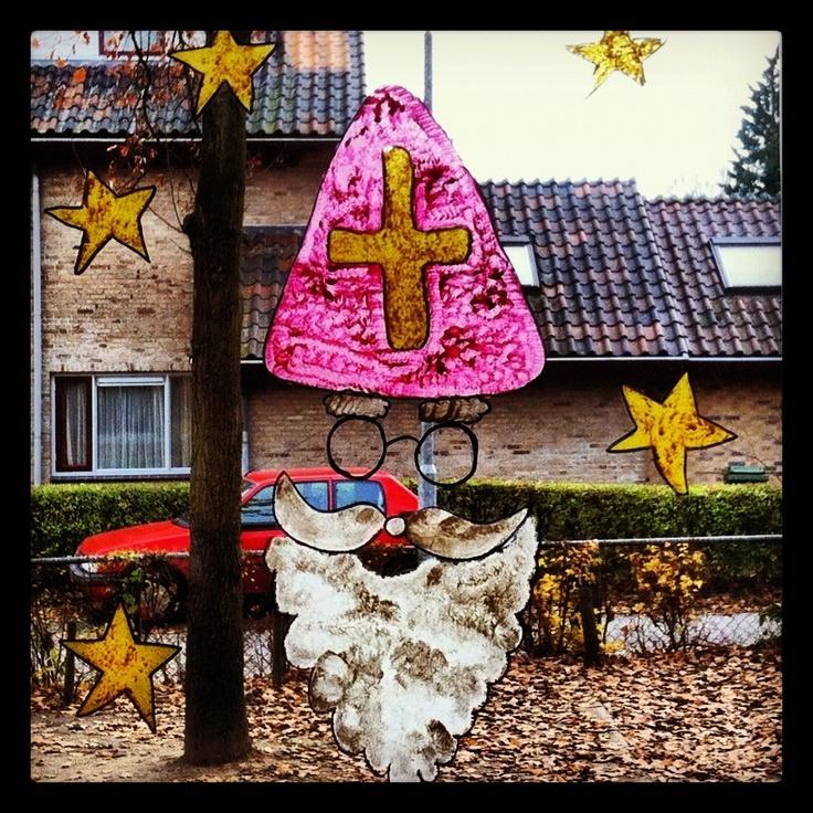 Raamschildering; Uitzwaai Sinterklaas