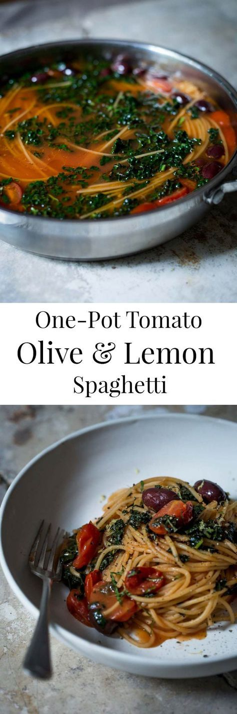Ready in 10-minutes, this one-pot tomato olive & lemon spaghetti is the perfect full-bodied vegan pasta dish. Feeds four with some to spare.