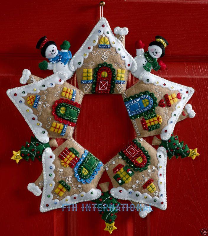 Bucilla Pan de Jengibre Corona ~ Fieltro Navidad Decoración del Hogar Kit # 86677, Casa, Candy