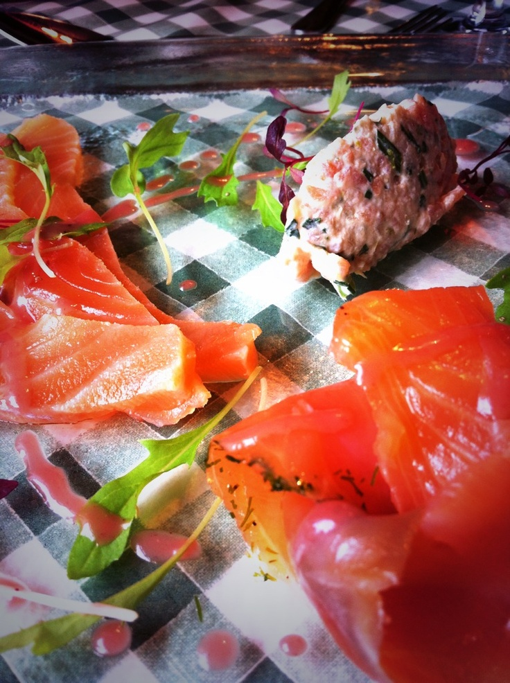 Smoked Salmon Trio at the Jolly Frog, just 3 miles from our Shropshire B