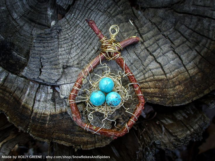 Adirondack Birds Nest Necklace Turquoise Eggs Rustic Silver Wire Wrap Goddess