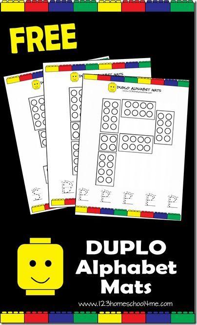 Free printable Duplo Alphabet Mats by Stoeps