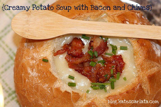 Creamy Potato Soup with bacon and chives...#fodmap version of course.