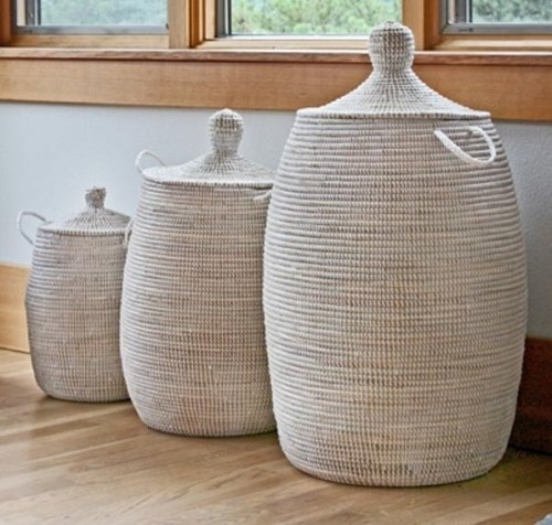 Hampers are notorious for being somewhat of an eyesore, but these pretty woven baskets turn that notion on its head. Handmade in Senegal, they make an attractive — and functional — accent to any room.