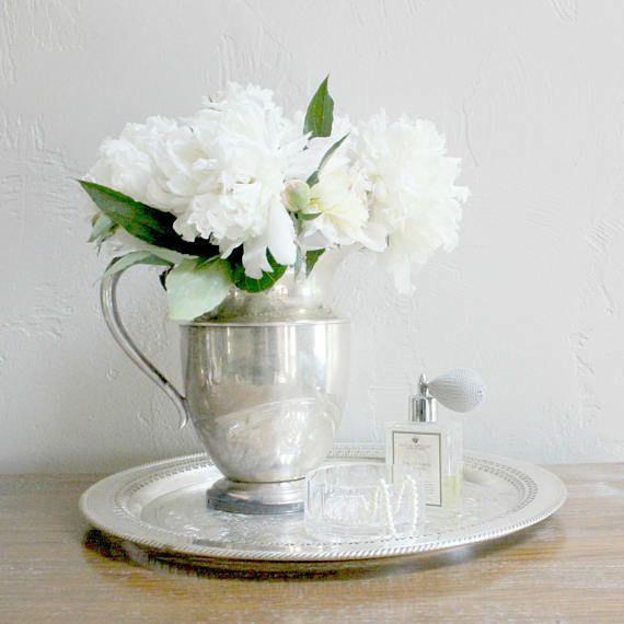 Vintage Silver Pitcher Silver Water Pitcher Silver Flower