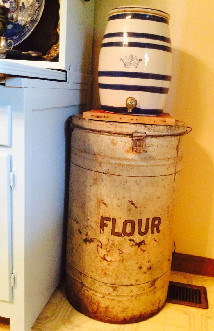 Old commercial scrappy white flour bin...