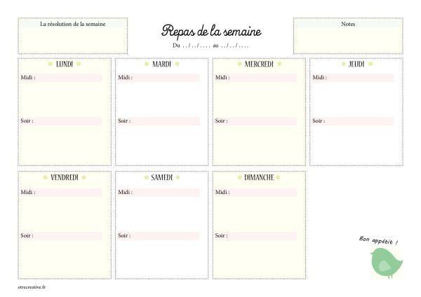 Planning Vierge Menu De La Semaine Planning Menu Semaine Modeles De Menu Planning Vierge