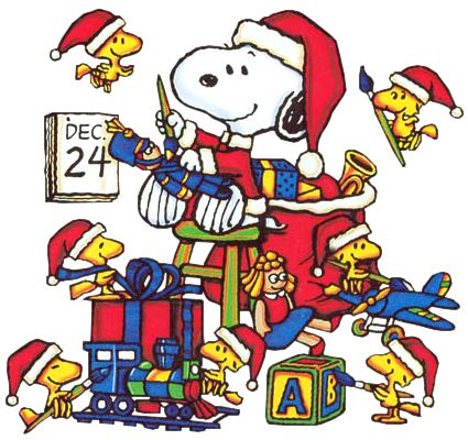 Christmas Eve Clip Art | Christmas Snoopy and Woodstock Christmas Eve Cartoon Clipart Image - I ...