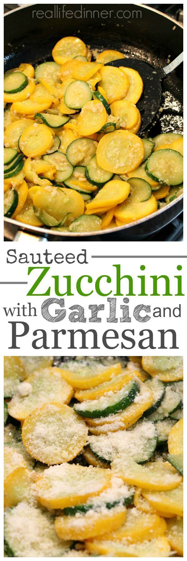 Get more flavor bang out of your side dish with hardly any extra effort. This Sauteed Zucchini and Yellow squash with Garlic and Parmesan is the Bomb and so easy to make. ~ http://reallifedinner.com (Squash Recipes Side Dishes)