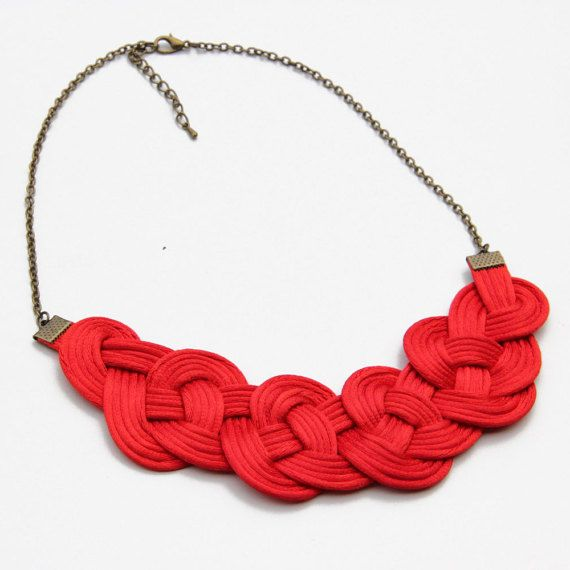 Red knot satin rope necklace statement necklace by SophiesKnotShop