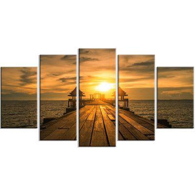 DesignArt 'Huge Wooden Bridge to Illuminated Sky' 5 Piece Photographic Print on Wrapped Canvas Set