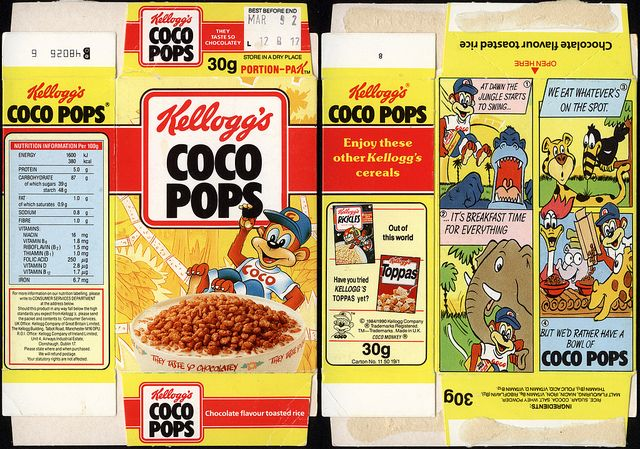 UK - Kellogg's - Coco Pops single portion cereal box - 1991 by JasonLiebig, via Flickr