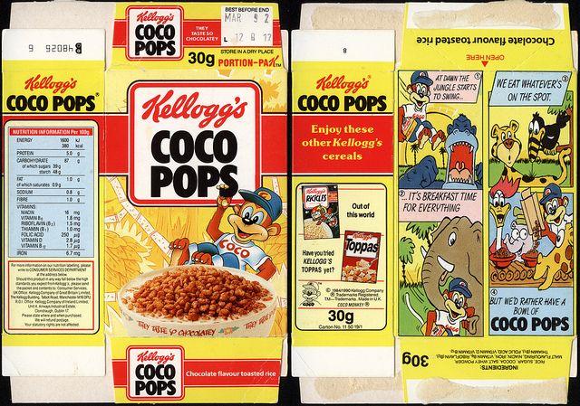 UK - Kellogg's - Coco Pops single portion cereal box - 1991 by JasonLiebig, via Flickr