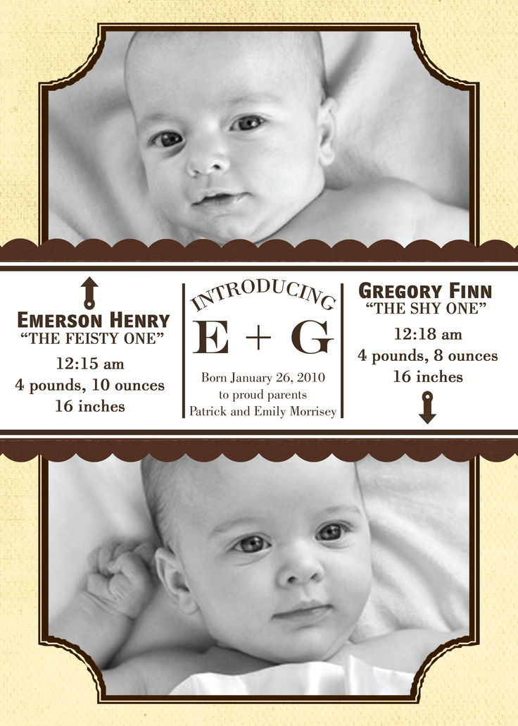 A baby announcement photo card I made and changed,  BUT DID NOT TOTALLY DESIGN