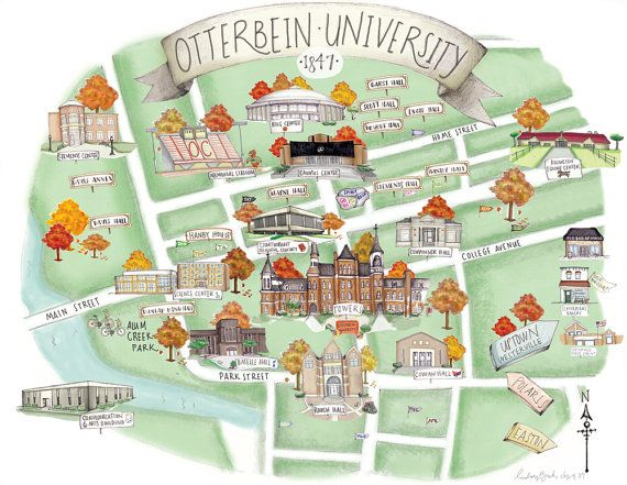 Otterbein University Campus Map (11x14) via Etsy. I about flipped out when I saw this