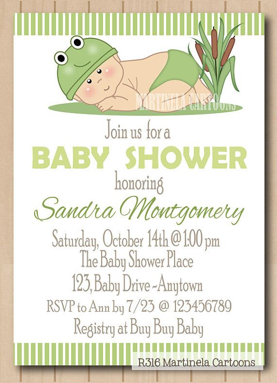 Little frog baby shower invitation baby frog invite for boy or