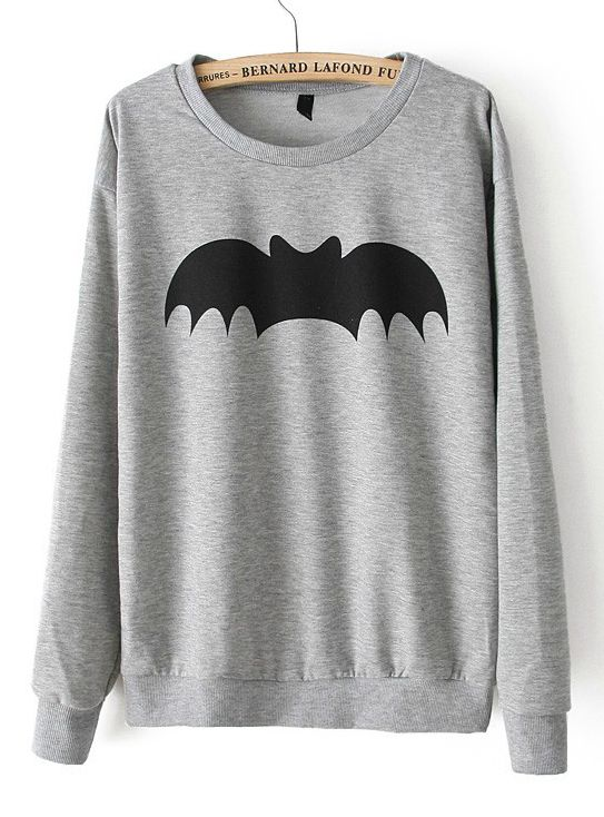Womens Personality Casual Bat Print Pattern Pullover Sweater Coat Tops T-Shirt