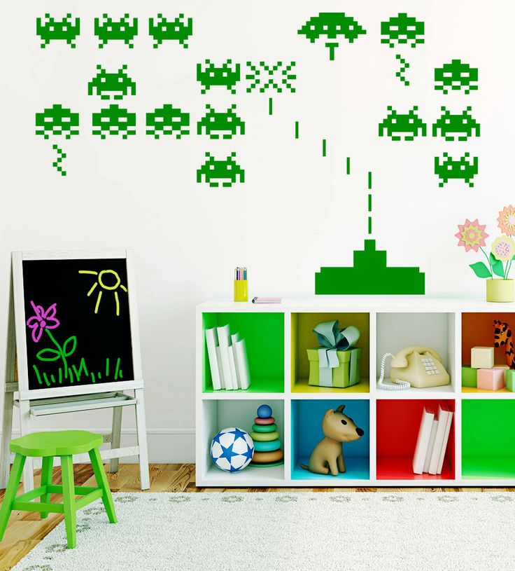 Space Invaders Arcade Home Decor,Nursery Wall Stickers,,Kids Wall Decals  W122