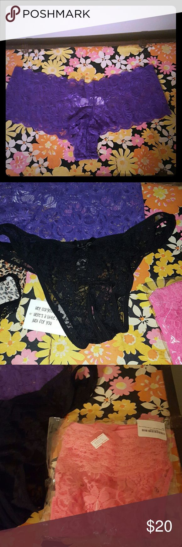 Sexy underwear 4 pack, never worn These say 3x but they're more like 1x. I never even tried these on I knew they wouldn't fit (they must be Asian 3x). One pair purple lace boyshort. Two crotchless lace ruffle booty, one black one pink. One cheetah super sexy open booty panty;) my loss is your gain since I was too lazy to return! Intimates & Sleepwear Panties