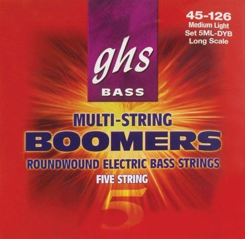 GHS Bass Boomers 5ML-DYB - .045-.126 by GHS. Save 51 Off!. $24.19. GHS has been manufacturing excellent guitar strings since 1964. Pro musicians and amateur hobbyists who want amazing sound from their strings turn to GHS for a wide bunch of tones. Whatever your tastes, from bright crunching rock to a mellow, bluesy sound, there's a set of GHS string that's right for you. The goal at GHS is to provide players around the world with strings that consistently exceed expectations. E...