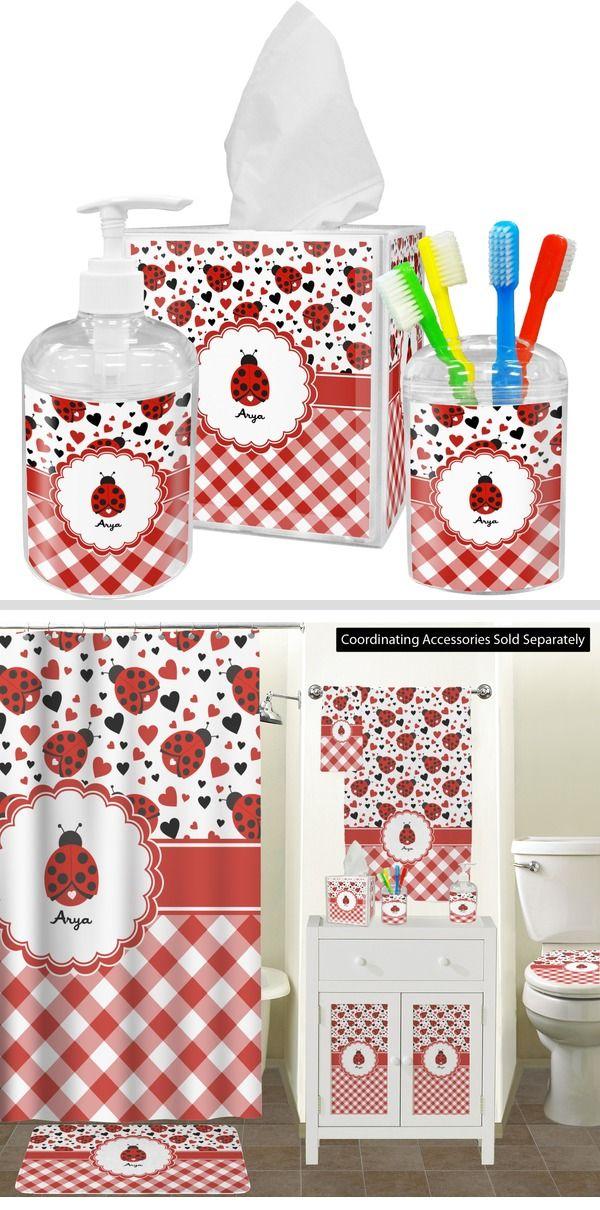 Ladybugs Gingham Bathroom Accessories Set Personalized Bathroom Accessories Sets Bathroom Decor Accessories Bathroom Accessories