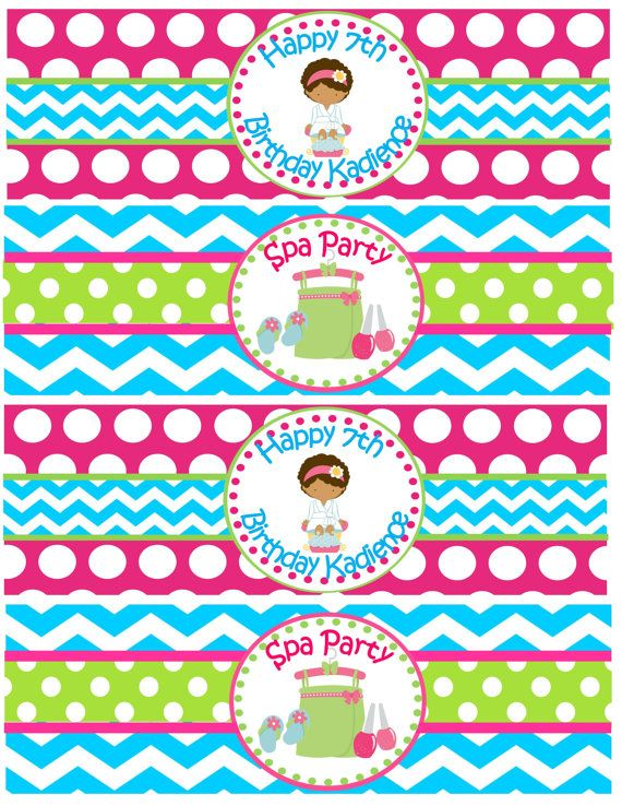 Spa Party Water Bottle Labels Spa Party by PinkInkPartyBoutique, $6.00