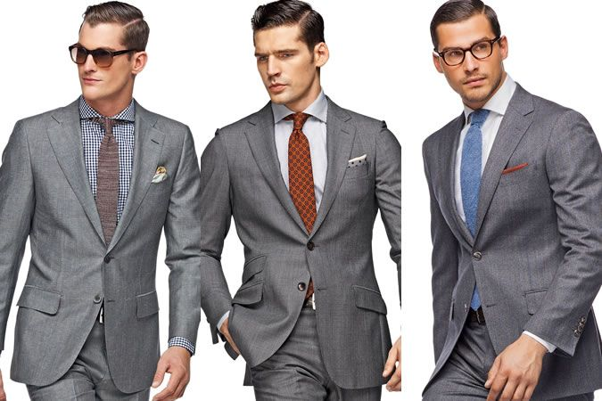 Men's Grey Suit - Three Different Shirt & Tie Combinations