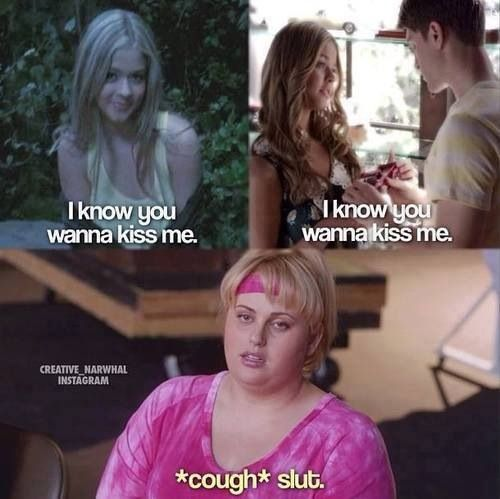 'I know you wanna kiss me' - Ali - Fat Amy - Pretty Little Liars This made me laugh so much