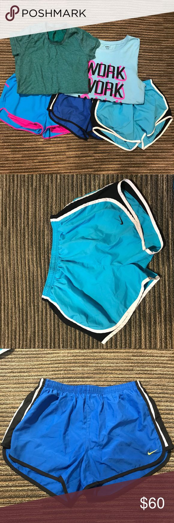 Size medium, blue athletic/workout bundle Athletic workout bundle  ⚜️Two pairs of blue Nike shorts ⚜️a pair of blue and pink new balance shorts ⚜️a blue Soffee graphic tee tank  ⚜️a greenish/blue adiddas short sleeve shirt  Only flaw is in the dark blue nike shorts there is pilling in the liner   Bundle and save! Prices are always negotiable 💜💙 Nike Shorts