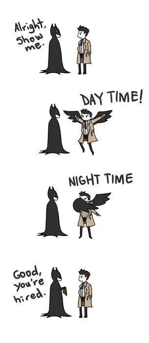 Cas and Batman omg