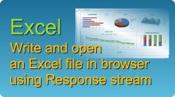 Export and open an Excel file in browser using Response stream in C#, VB.NET, ASP.NET, ASP classic! XLS, XLSX, XLSM, XLSB spreadsheets by EasyXLS. #Excel #Response #Stream #Write #Export #CSharp #VBNET #AspDotNet #ASP