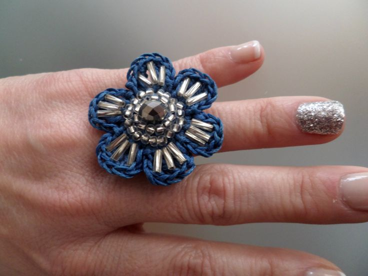 Crocheted Blue Flower Ring decorated with Seed & Tube Glass Beads in Silver Colour/Celebration Gift/Crochet Jewelry/Crochet Ring by Vintagespecialmoment on Etsy