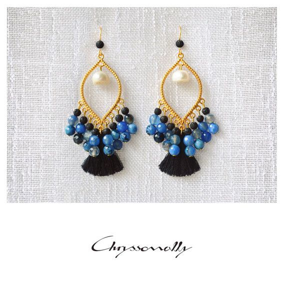 CGC027 - Chryssomally gold boho luxe earrings with light blue agate and black lava stones, white pearls and black tassels
