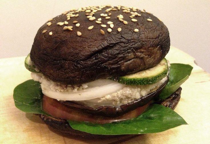 <p>The baked portobello mushrooms make great buns and the roasted eggplant makes a juicy vegan patty! </p>