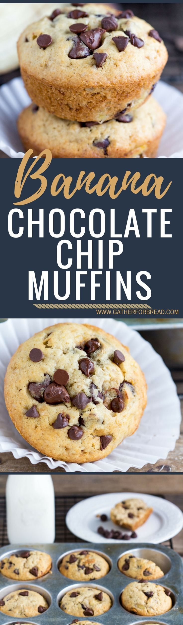 Banana Chocolate Chip muffins - Bakery style Homemade muffins. Perfect for breakfast or snack. These are a family FAVORITE! (Chocolate Chip Banana)