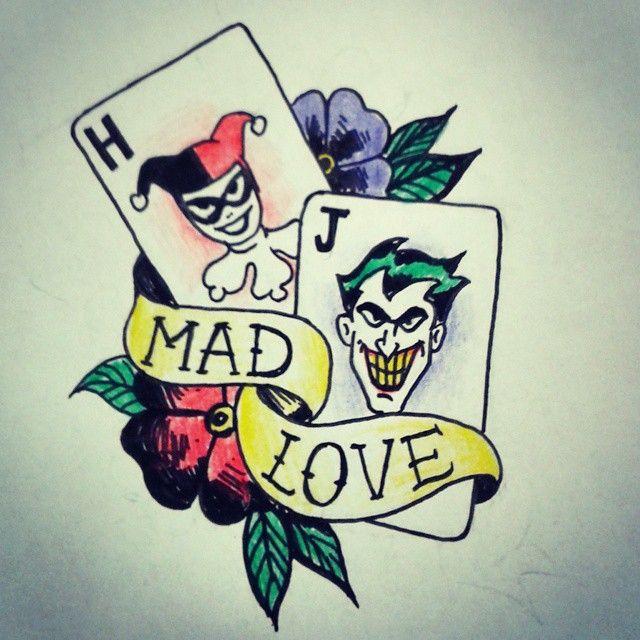 Harley And Joker Tattoo Art - Illustration by #HarleenRose #JokerAndHarley #TheJoker #Joker #harleyquinn #DC #TattooArt #JokerTattoo #HarleyQuinnTattoo