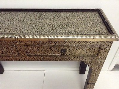 марокканский стол консоль серебряный резной & травление металла ARABESQUE мебель