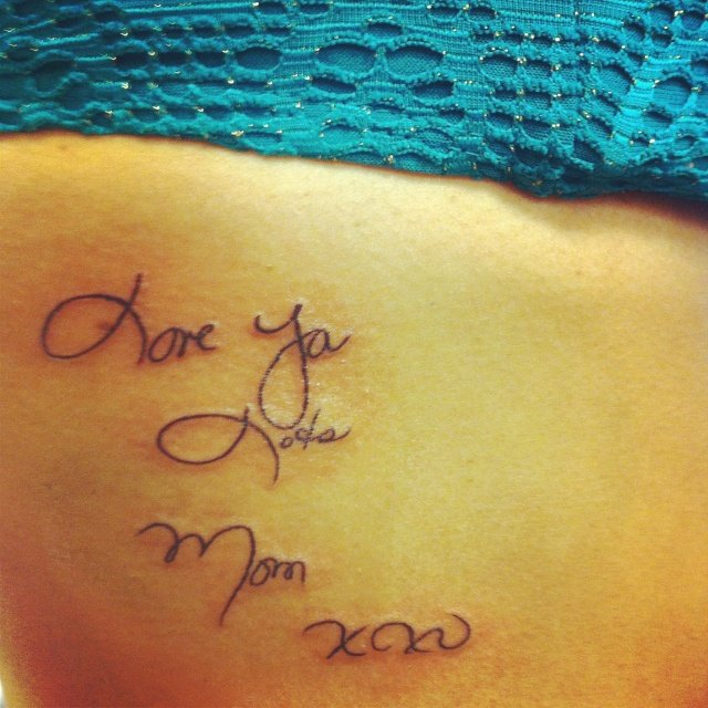 Tattoo Of My Parents Signature From A Card: Tattoo Of My Mom's Handwriting In Memory Of Her. Was From