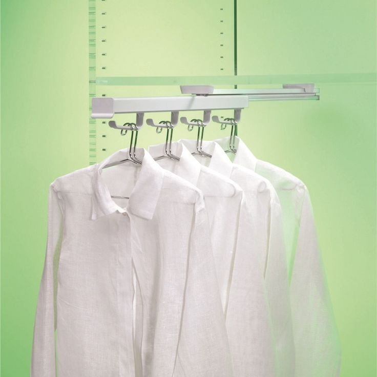 Ambos Pull Out Hanger Rack mounts under shelves and pulls out to provide easy access to shirts and jackets. Particularly suited to deep, narrow spaces. Fibreglass-reinforced nylon clips.
